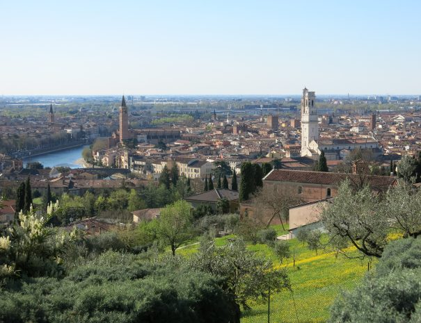 A view of Verona, the departure of the cycling holidays